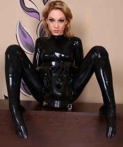 Latex Model Behind Rubber Mask