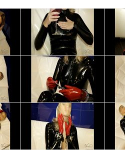 Self-Bondage In Latex Catsuit